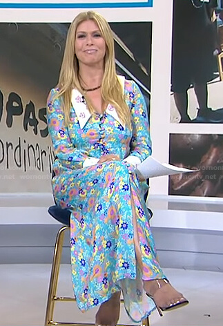 Jill's blue floral collared dress on Today