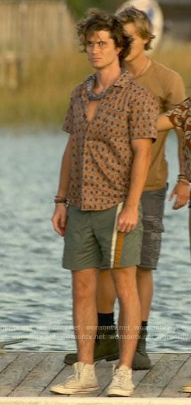 John B's beige printed button down on Outer Banks