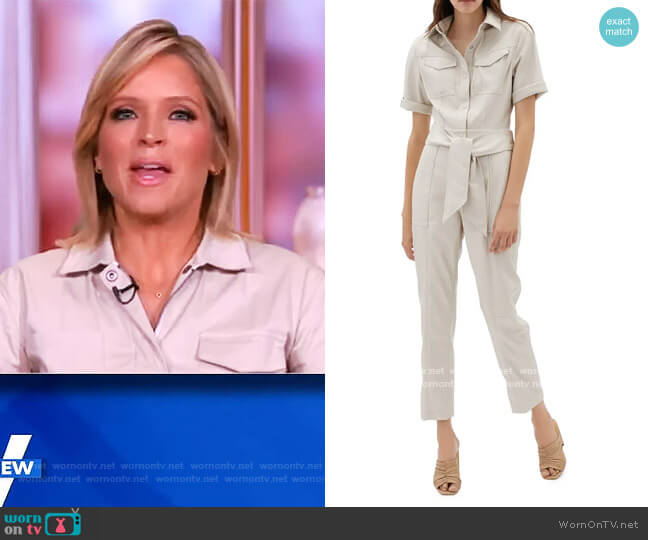 Maddy Faux Leather Utility Jumpsuit by Jonathan Simkhai worn by Sara Haines  on The View
