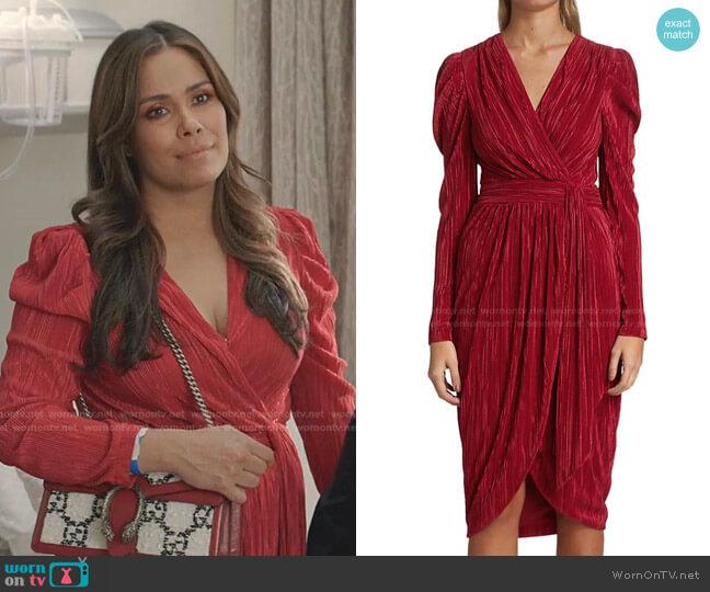 Esmeralda Plisse Midi Dress  by Jonathan Simkhai worn by Cristal Jennings (Daniella Alonso) on Dynasty