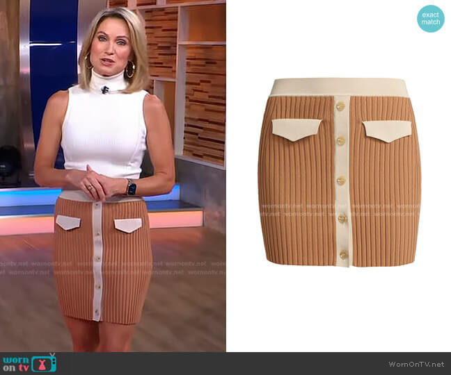 Heather Rib-Knit Miniskirt by Jonathan Simkhai worn by Amy Robach  on Good Morning America