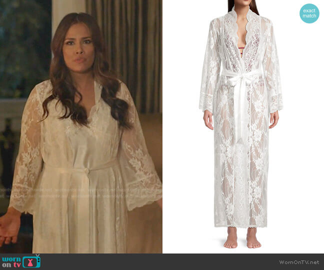 Collette Lace Longline Robe by Jonquil worn by Cristal Jennings (Daniella Alonso) on Dynasty