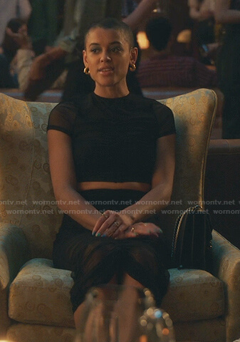 Julien's black ruched mesh top and skirt on Gossip Girl