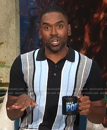 Justin's black, grey and blue striped polo shirt on E! News Daily Pop