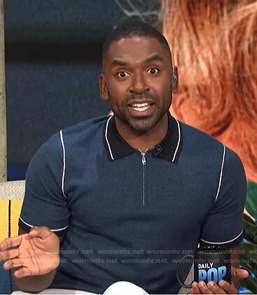 Justin's navy contrast trim polo shirt on E! News Daily Pop