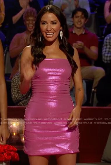 Kaitlyn's pink metallic mini dress on The Bachelorette