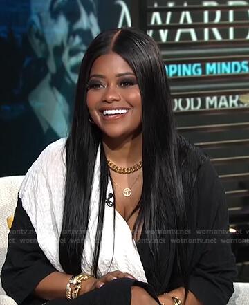 Karen Civil's black and white v-neck dress on E! News Daily Pop