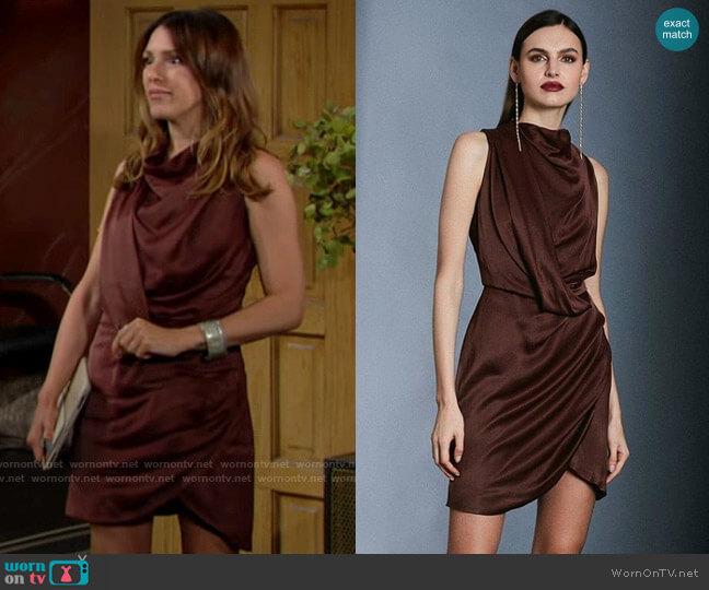 Karen Millen Cowl Neck Drape Pencil Dress worn by Chloe Mitchell (Elizabeth Hendrickson) on The Young & the Restless