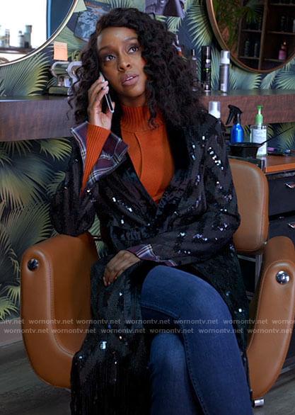 Karen's sequin fringe trim jacket on Tyler Perrys Sistas
