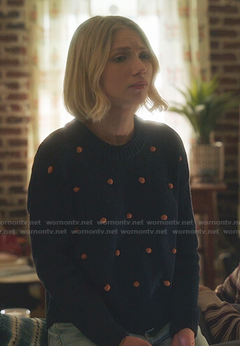 Kate's navy and orange bobble sweater on Gossip Girl