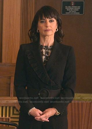 Kathleen's black ruffle-trim blazer on Good Trouble