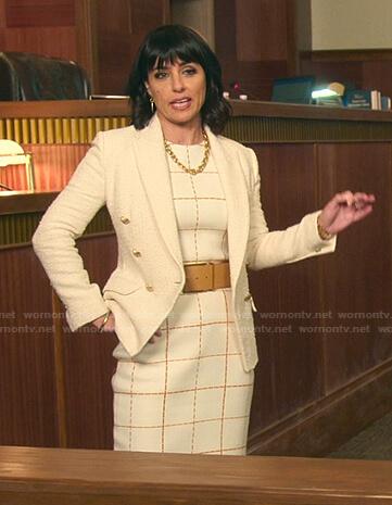 Kathleen's white check dress and tweed blazer on Good Trouble