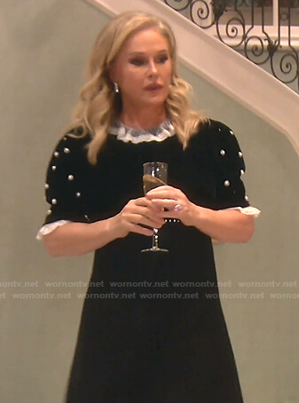 Kathy's black pearl embellished velvet dress on The Real Housewives of Beverly Hills