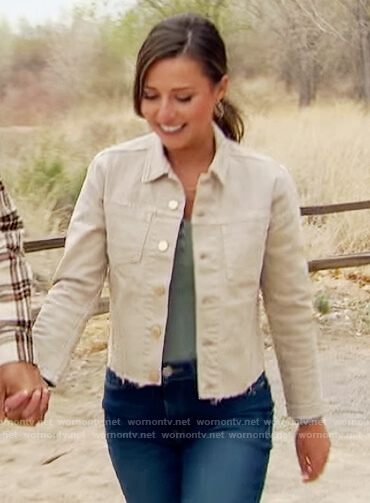 Katie's beige denim raw hem jacket on The Bachelorette