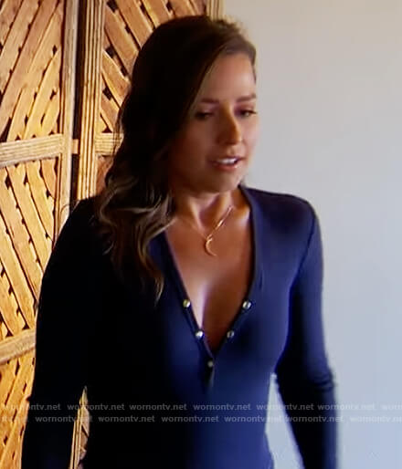 Katie's navy button bodysuit on The Bachelorette