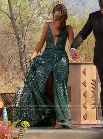Katie's green embellished plunging gown on The Bachelorette