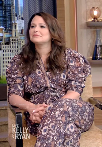Katie Lowes's floral puff sleeve jumpsuit on Live with Kelly and Ryan