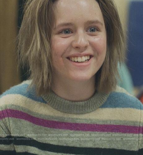 Katie's striped sweater on Modern Love