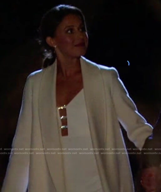 Katie's ivory open knit sweater on The Bachelorette
