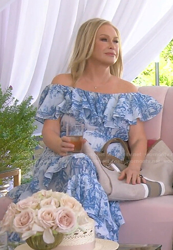 Kathy's white and blue printed ruffle dress on The Real Housewives of Beverly Hills