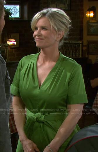 Kayla's green v-neck tie waist dress on Days of our Lives