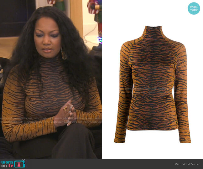 Tiger-Print Long-Sleeve Top by Kenzo worn by Garcelle Beauvais  on The Real Housewives of Beverly Hills