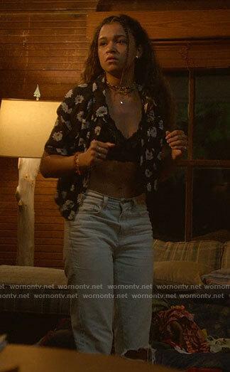 Kiara's black floral button down shirt on Outer Banks