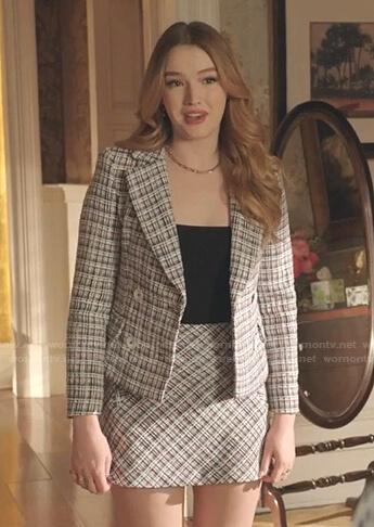 Kirby's white plaid blazer and mini skirt on Dynasty