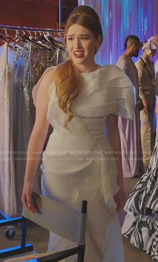 Kirby's white ruffle gown on Dynasty