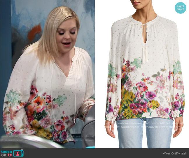 Helena Floral Puff-Sleeve Blouse by Kobi Halperin worn by Maxie Jones (Kirsten Storms) on General Hospital