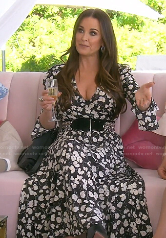 Kyle's black floral wrap dress on The Real Housewives of Beverly Hills