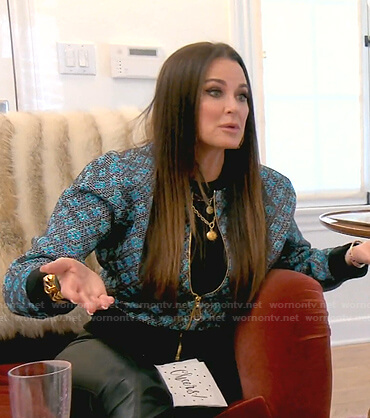 Kyle's blue and grey printed bomber jacket on The Real Housewives of Beverly Hills