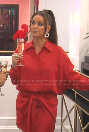Kyle's red tie front shirtdress on The Real Housewives of Beverly Hills
