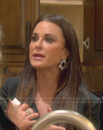 Kyle's crystal round earrings on The Real Housewives of Beverly Hills