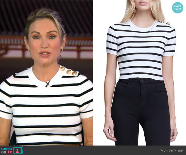Delphine Stripe Short Sleeve Sweater by L'Agence worn by Amy Robach  on Good Morning America