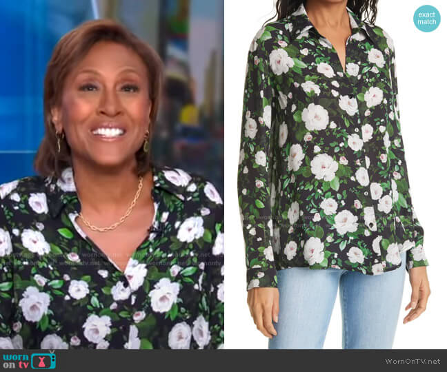 Nina Floral Blouse by L'Agence worn by Robin Roberts  on Good Morning America