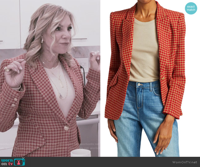 Chamberlain Houndstooth Blazer by L'Agence worn by Ramona Singer  on The Real Housewives of New York City