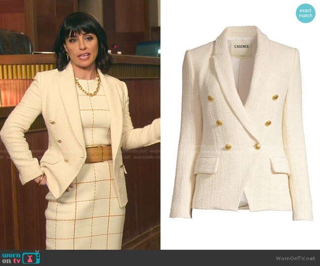 Kenzie Tweed Jacket by L'Agence worn by Kathleen Gale (Constance Zimmer) on Good Trouble