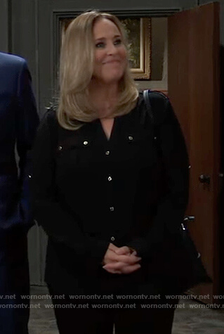 Laura's black button down blouse on General Hospital