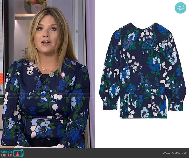 Floral-Print crepe Blouse by Lela Rose worn by Jenna Bush Hager  on Today