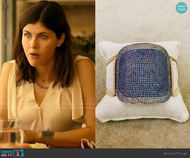 Lera Jewels Large Square Cuff worn by Rachel Patton (Alexandra Daddario) on The White Lotus