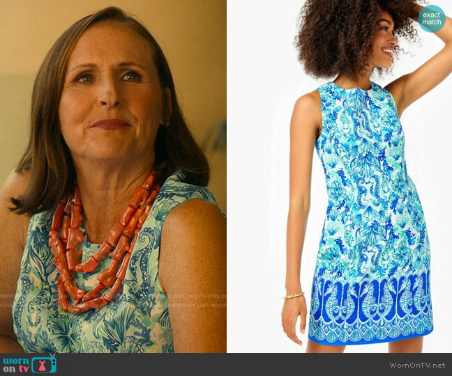 Lilly Pulitzer Mila Dress in Seeing Double worn by Kitty Patton (Molly Shannon) on The White Lotus