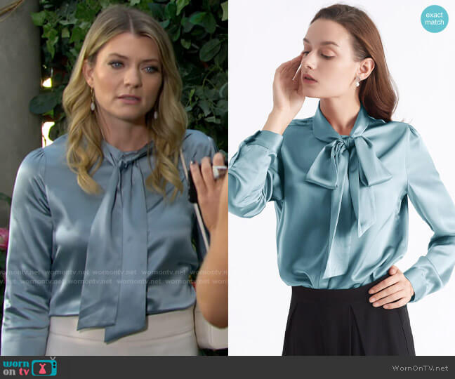Lily Silk Bow-tie Neck Silk Blouse in Blue Haze worn by Tara Locke (Elizabeth Leiner) on The Young & the Restless