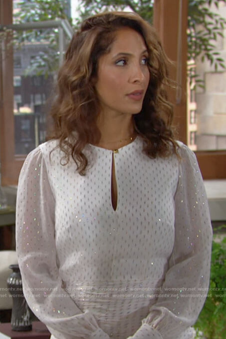 Lily's white long sleeved mini dress on The Young and the Restless