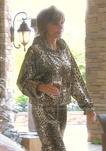 Lisa's leopard hoodie and sweatpants on The Real Housewives of Beverly Hills