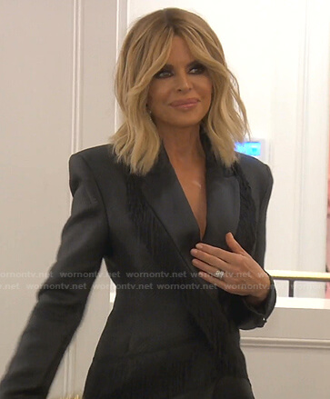 Lisa's black fringed blazer dress on The Real Housewives of Beverly Hills