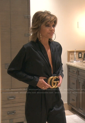 Dorit's navy Christian Dior print sweater on The Real Housewives of Beverly Hills