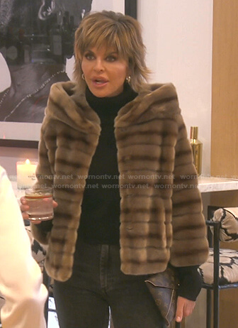 Lisa's brown striped fur jacket on The Real Housewives of Beverly Hills