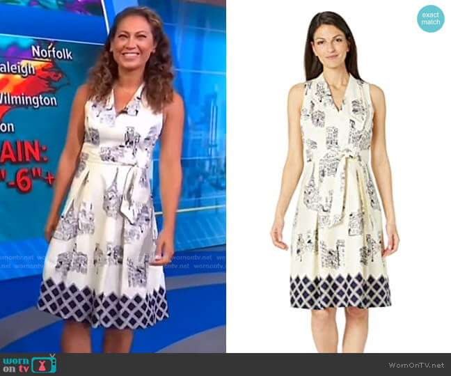 Modern Paris Printed Pleated Dress by London Times worn by Ginger Zee  on Good Morning America