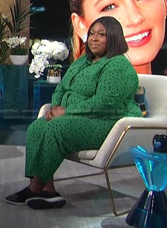 Loni's green polka dot jumpsuit on E! News Daily Pop